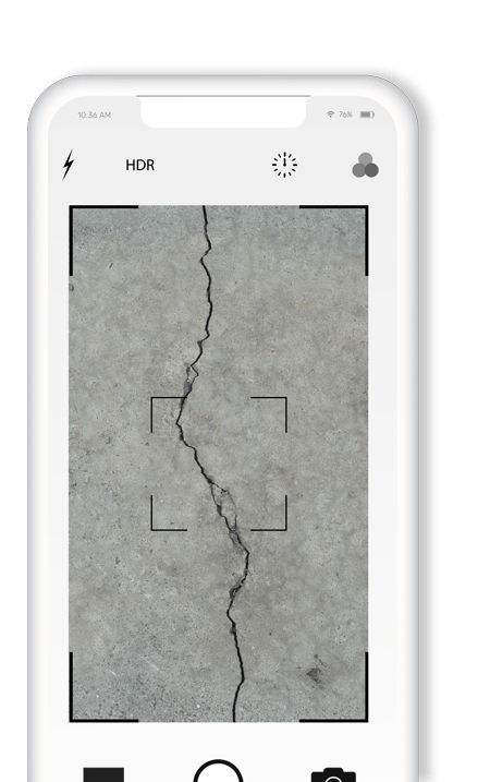 phone screen taking a picture of a crack